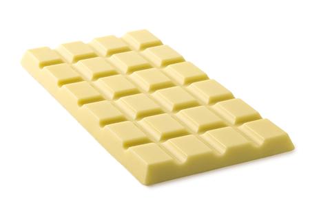 Whole slab of white chocolate isolated on white. Imagens