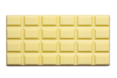 Whole slab of white chocolate isolated on white from above. Imagens