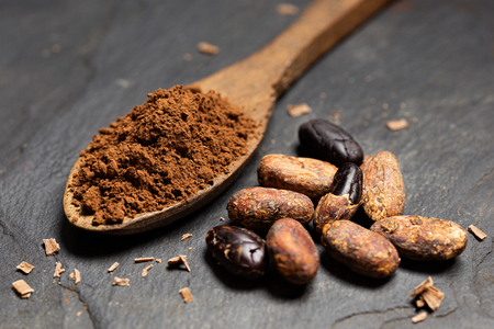 Cocoa powder on a wooden spoon next to roasted peeled and unpeeled cocoa beans and chocolate shavings on black slate. Imagens