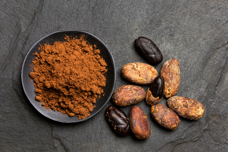 Cocoa powder in a black ceramic dish next to roasted peeled and unpeeled cocoa beans isolated on black slate from above.