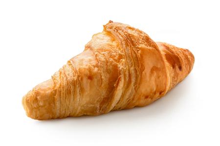 Single baked plain croissant isolated on white.