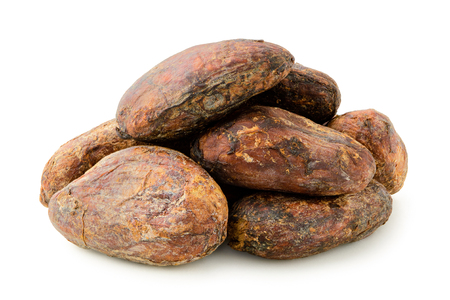 Pile of roasted unpeeled cocoa beans isolated on white. Imagens