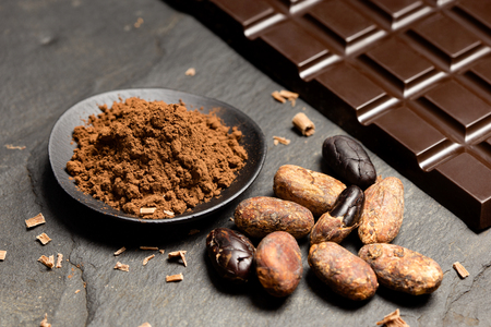 Cocoa powder in a black ceramic dish next to roasted peeled and unpeeled cocoa beans, chocolate shavings and a slab of dark chocolate on black slate. Imagens