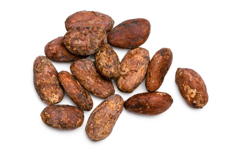 Group of roasted unpeeled cocoa beans isolated on white from above.