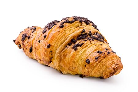 Croissant with chocolate chip topping isolated on white.