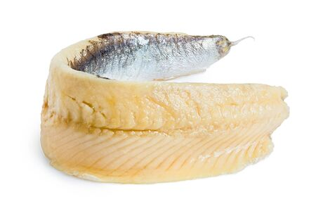 A single piece of anchovy fillet isolated on white.