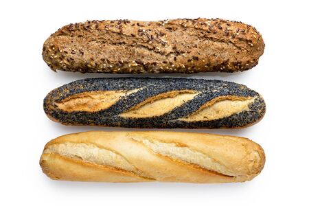 Three traditional baguettes isolated on white. Plain, whole wheat and poppy seed. Top view.