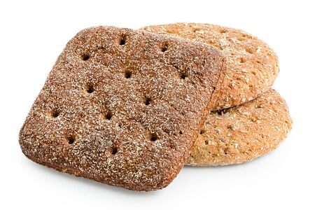 Two round oat wheat flat breads and one square rye flat bread isolated on white.