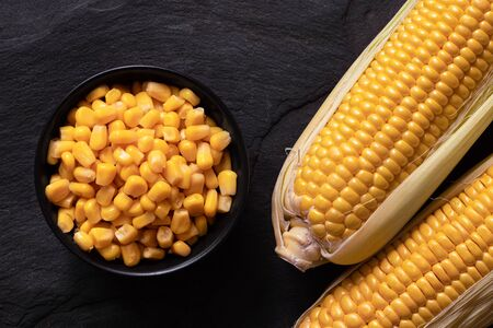 Canned sweet corn in a black ceramic bowl next to two corn cobs in husks on black slate. Top view.  Banco de Imagens