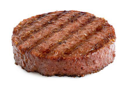 Empanada de hamburguesa a la parrilla a base de plantas con marcas de parrilla aisladas en blanco.