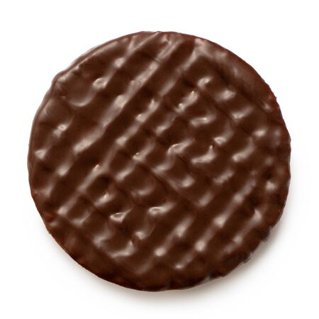 Dark chocolate coated digestive biscuit isolated on white. Top view. Banque d'images