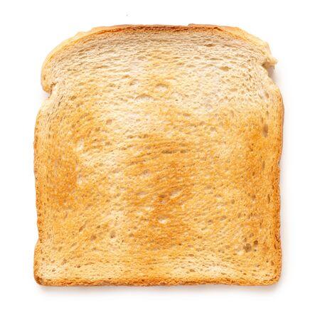 Single slice of white toast isolated on white. Top view. Zdjęcie Seryjne