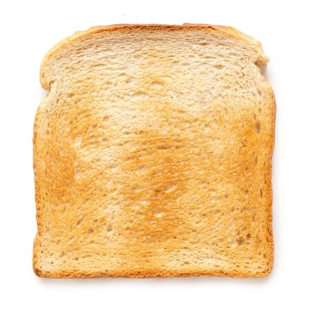 Single slice of white toast isolated on white. Top view.