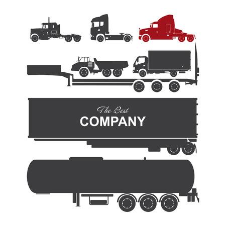illustration detailed trucks silhouettes set