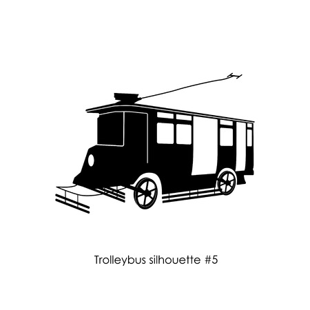 trolleybus: Black silhouette of trolley bus on a white background. Retro trolleybus.