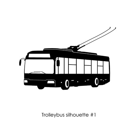 Black silhouette of trolley bus on a white background.