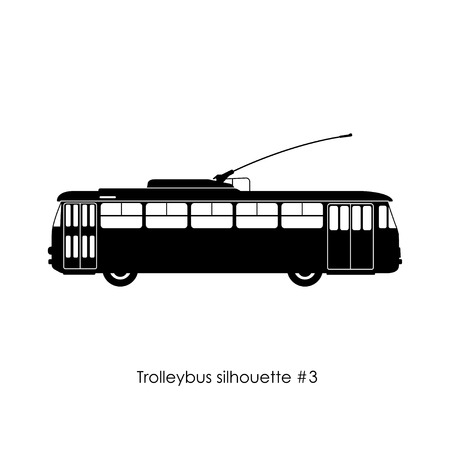 silhouette noire de trolleybus sur un fond blanc. trolleybus Retro. Vecteurs