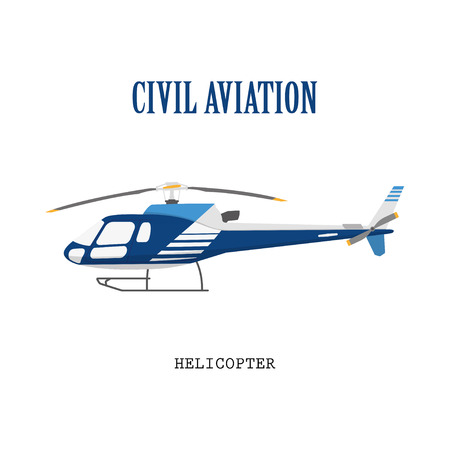 transference: Figure civilian helicopter in flat style.