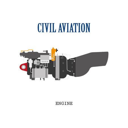 turbojet: Engine of the helicopter or aircraft . Technical drawing in a flat style. Illustration