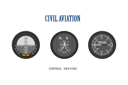Set of aircraft instruments. Control of devices collection. Illustration