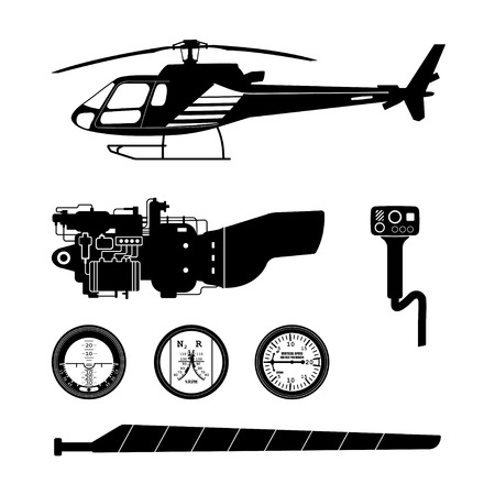 cockpit: Repair and maintenance of the helicopter. Set of parts of helicopter on a white background. Black silhouette of the helicopter and parts. Vector illustration Illustration