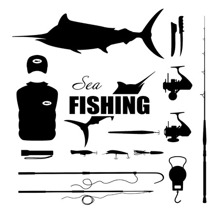 marlin: Set items fisherman . Sea fishing . Collection of silhouettes of fishing equipment. Vector illustration