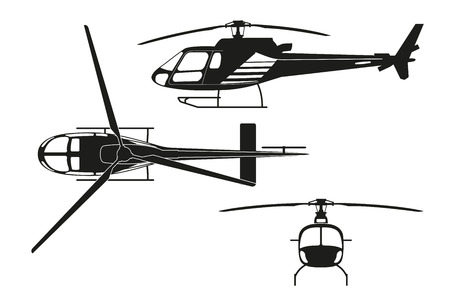 흰색 배경에 헬기의 검은 실루엣. 톱보기, 측면보기, 전면보기. 벡터 일러스트 레이 션