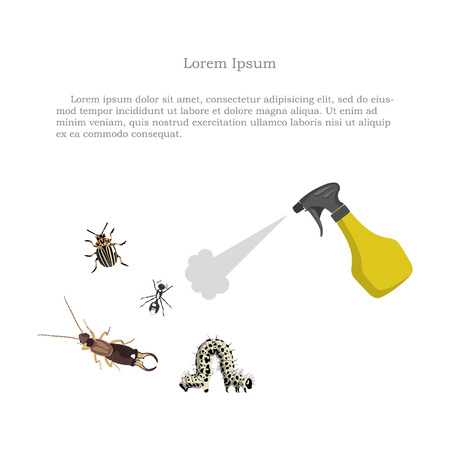 vermin: Pest control. Figure of garden pests and sprayer on a white background. Vector illustration