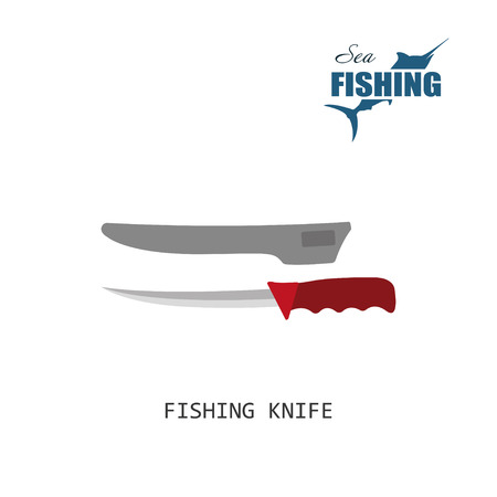 sheath: Fisher knife. Item of fishing. Vector illustration
