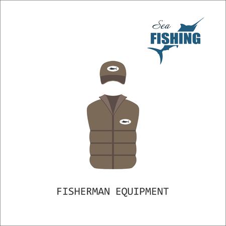 hat with visor: Cap and jacket. Fisherman equipment. Items of fishing. Vector illustration