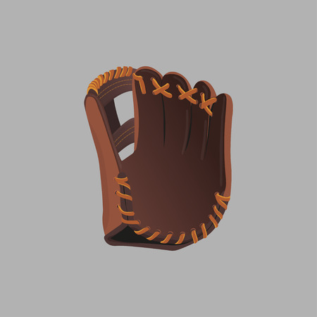 cowhide: Baseball glove on a gray background. Vector illustration