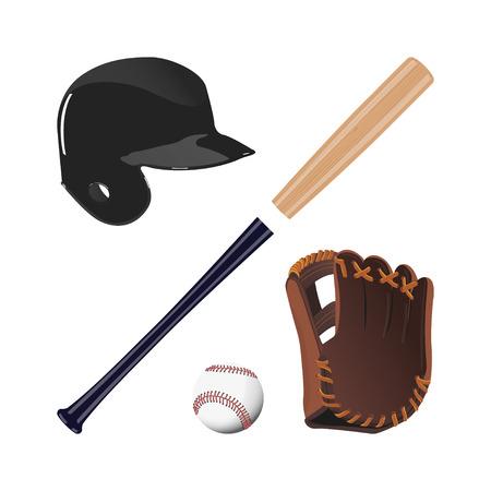 baseball caps: Items for baseball : the ball , glove , bat, helmet. A collection of baseball equipment on a white background