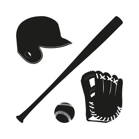 baseball ball: Items for baseball : the ball , glove , bat, helmet. A collection of baseball equipment silhouette