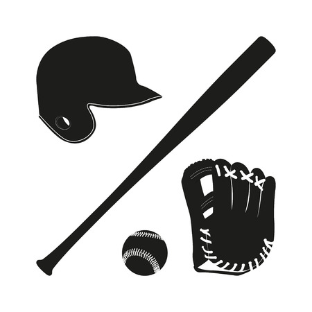 Items for baseball : the ball , glove , bat, helmet. A collection of baseball equipment silhouette
