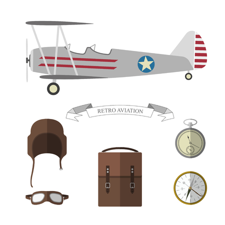 airman: Set of pilot objects. Retro aviation items collection. Vector illustration Illustration