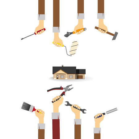 mending: Hands with tools. Icon of house on a white background . Home repairs. Vector illustration Illustration
