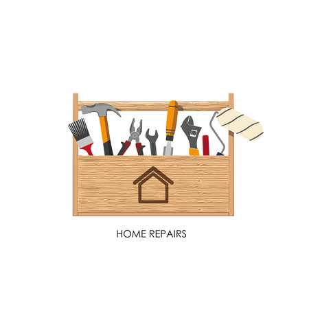 home repairs: Toolbox. Set of tools for home repairs. Vector illustration