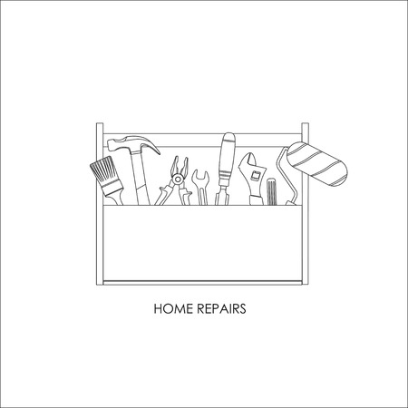 home repairs: Toolbox. Set of tools for home repairs. Outline drawing. Vector illustration Illustration