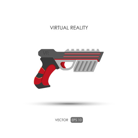 Gun for virtual reality system. Game weapons. Vector illustration Illustration
