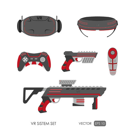 Set of accessories for virtual reality system on white background . VR collection. Vector illustration Vettoriali