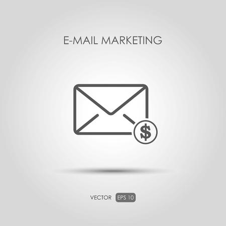 copywriting: Copywriting icon E-mail marketing in linear style. Vector illustration Illustration