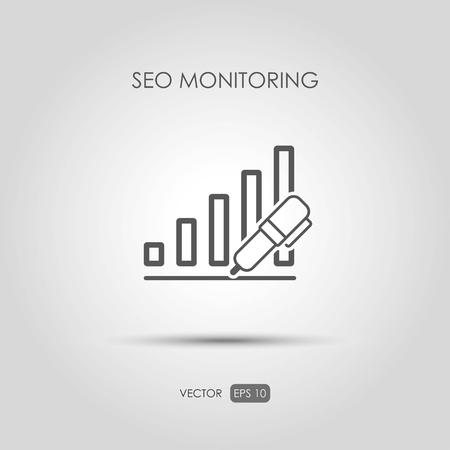 copywriting: Copywriting icon SEO monitoring in linear style. Vector illustration Illustration