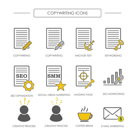 copywriting: Icons of copywriting in linear style. SEO copywriting and SMM. Vector illustration