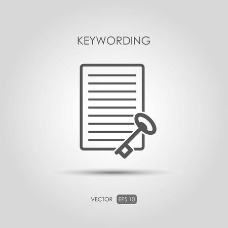 Copywriting icon Keywording in linear style. Vector illustration