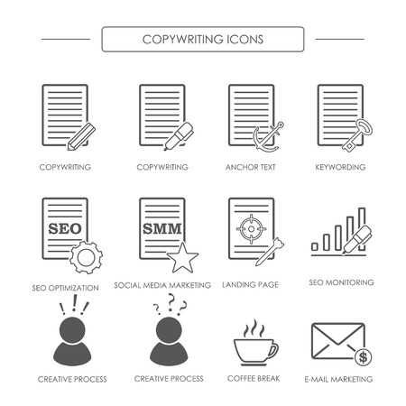 smm: Black and white icons of copywriting in linear style. SEO copywriting and SMM. Vector illustration