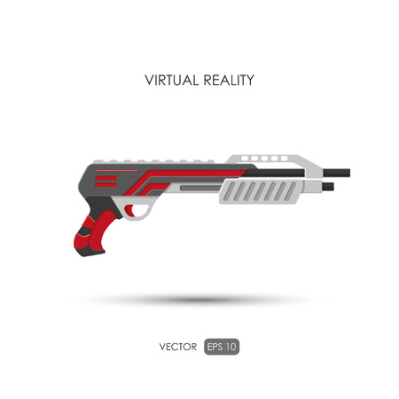 futuristic pistol: Shotgun. Gun for virtual reality system. Video game weapons. Video game guns. Vector illustration Illustration