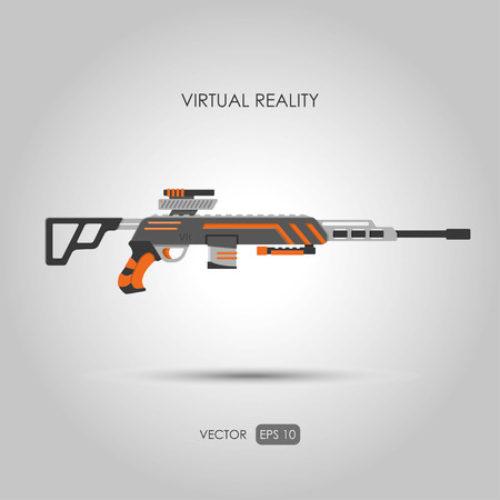 sniper rifle: Sniper rifle. Gun for virtual reality system. Video game weapons. Video game guns. Vector illustration Illustration