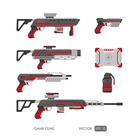 toy chest: Guns for virtual reality system. Video game weapons set. Video game guns collection. Vector illustration