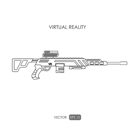 sniper rifle: Sniper rifle. Gun for virtual reality system. Video game weapons. Video game guns. Outline drawing. Vector illustration