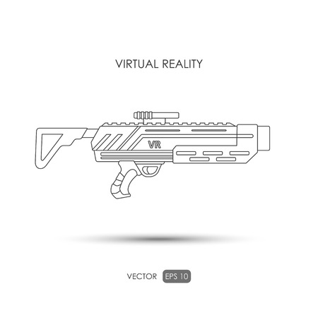 futuristic pistol: Missile. Gun for virtual reality system. Video game weapons. Video game guns. Outline drawing. Vector illustration